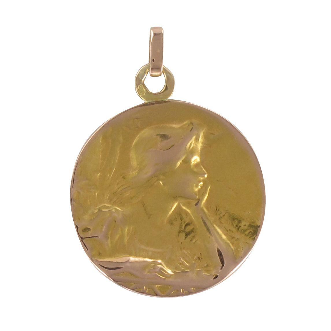 Médaille ancienne or rose portrait de femme