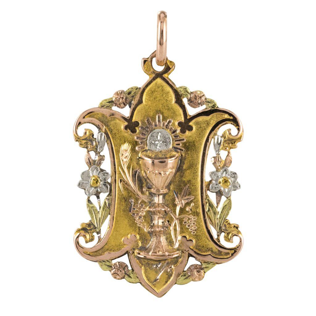 Médaille ancienne ors jaune, rose, blanc et vert