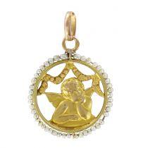 Médaille ange en or et perles fines