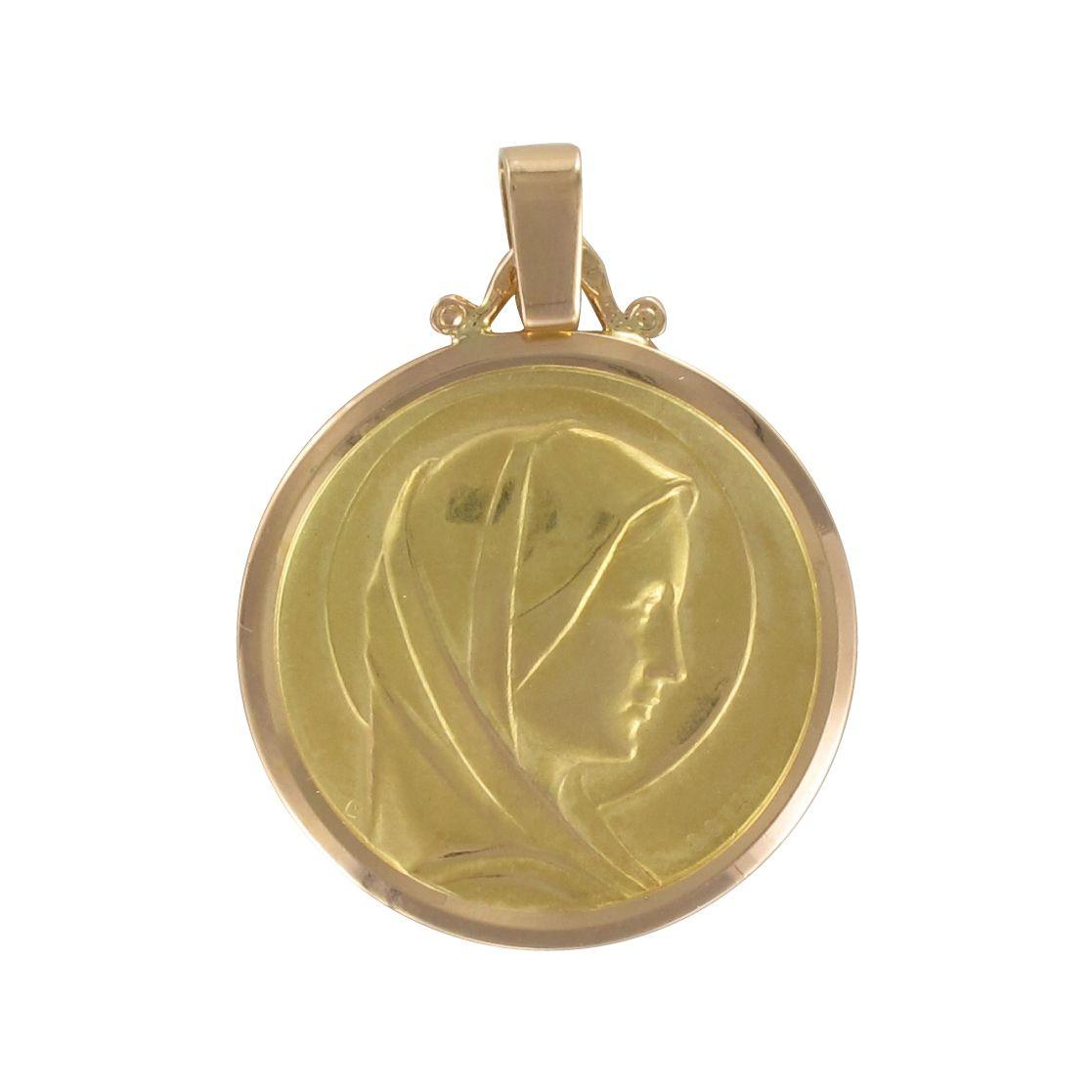 Médaille vierge marie auréolée en or jaune et or rose