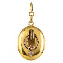 Médaillon ancien émail et perles fines