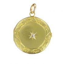 Médaillon ancien or diamant rond