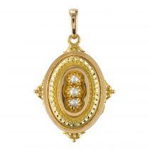 Médaillon ancien or et perles