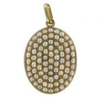 Médaillon ancien perles fines