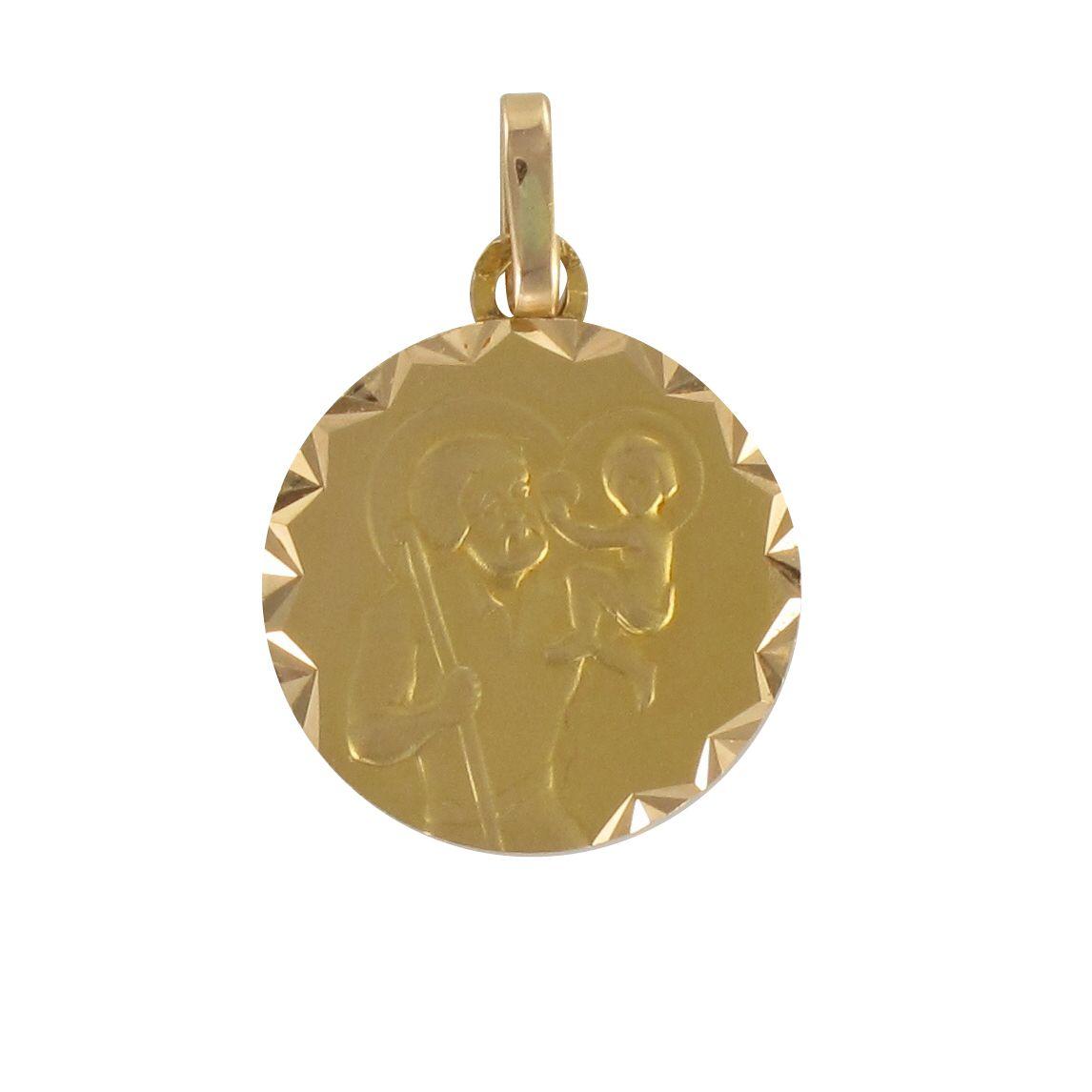 Médaillon ancien Saint Christophe en or