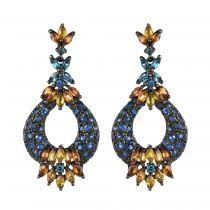 Modern Tanzanite Amethyst Sapphire and Topaz Silver Dangle Earrings