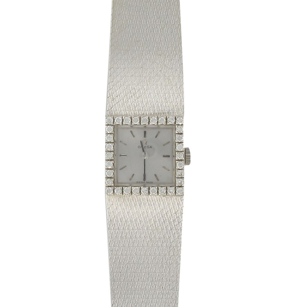 Montre Oméga Quart de Ville Or blanc Diamants Femme