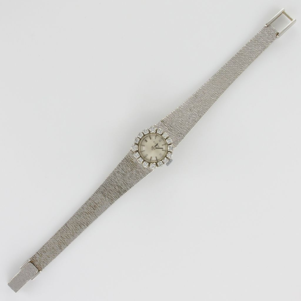 Montre Vintage Or blanc Diamants Femme