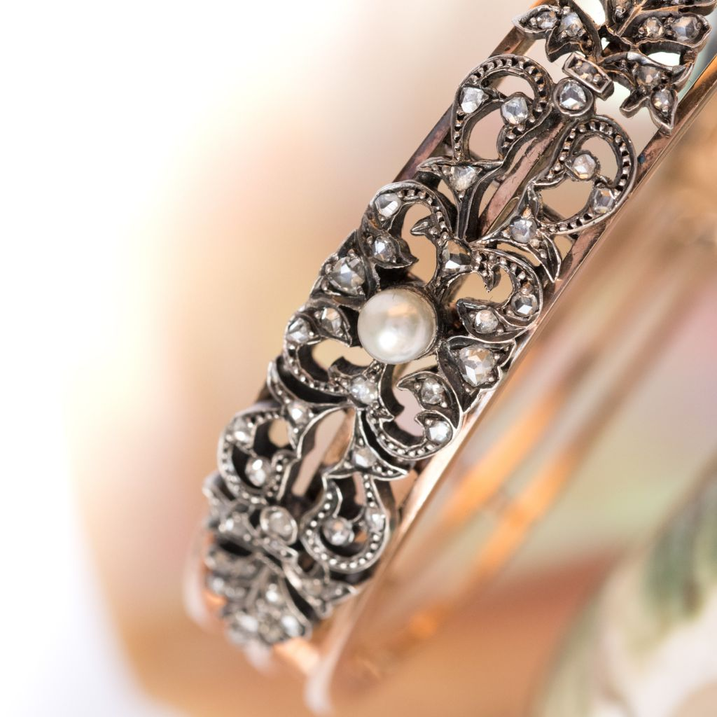 Napoleon 3 Antique Pearl Diamond Silver Gold Bangle Bracelet