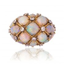 Opal Diamond Gold Domed Ring