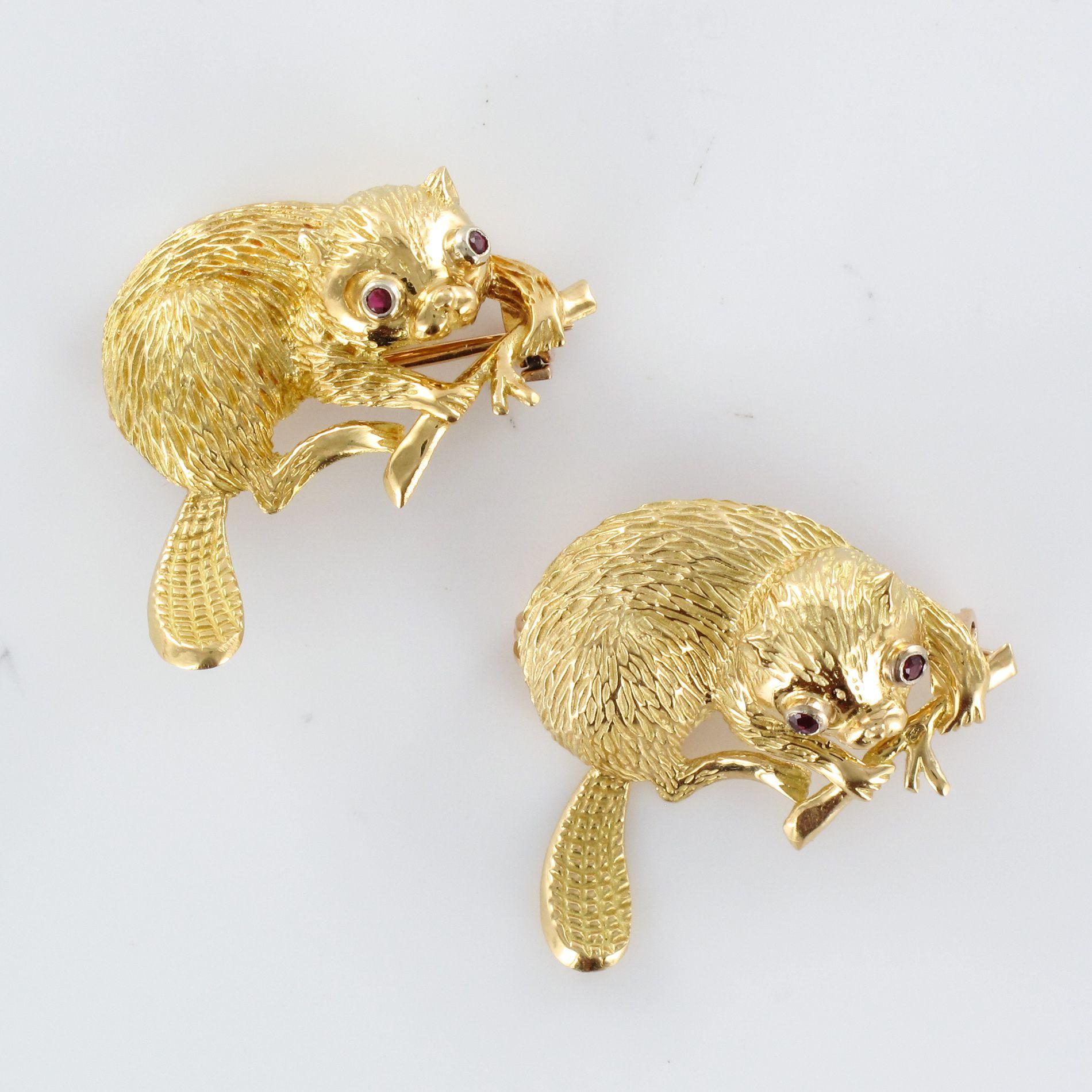 Paire de Broches Castors en or