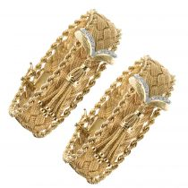 Paires de bracelets tresse d\'or et diamants