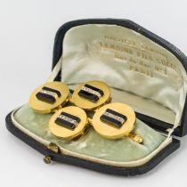 Parure ancienne boutons de gilet et broche onyx et diamants