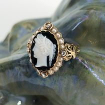 Parure ancienne camées sur onyx perles fines et diamants