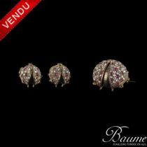 Parure ancienne Coccinelles Rubis et Diamants