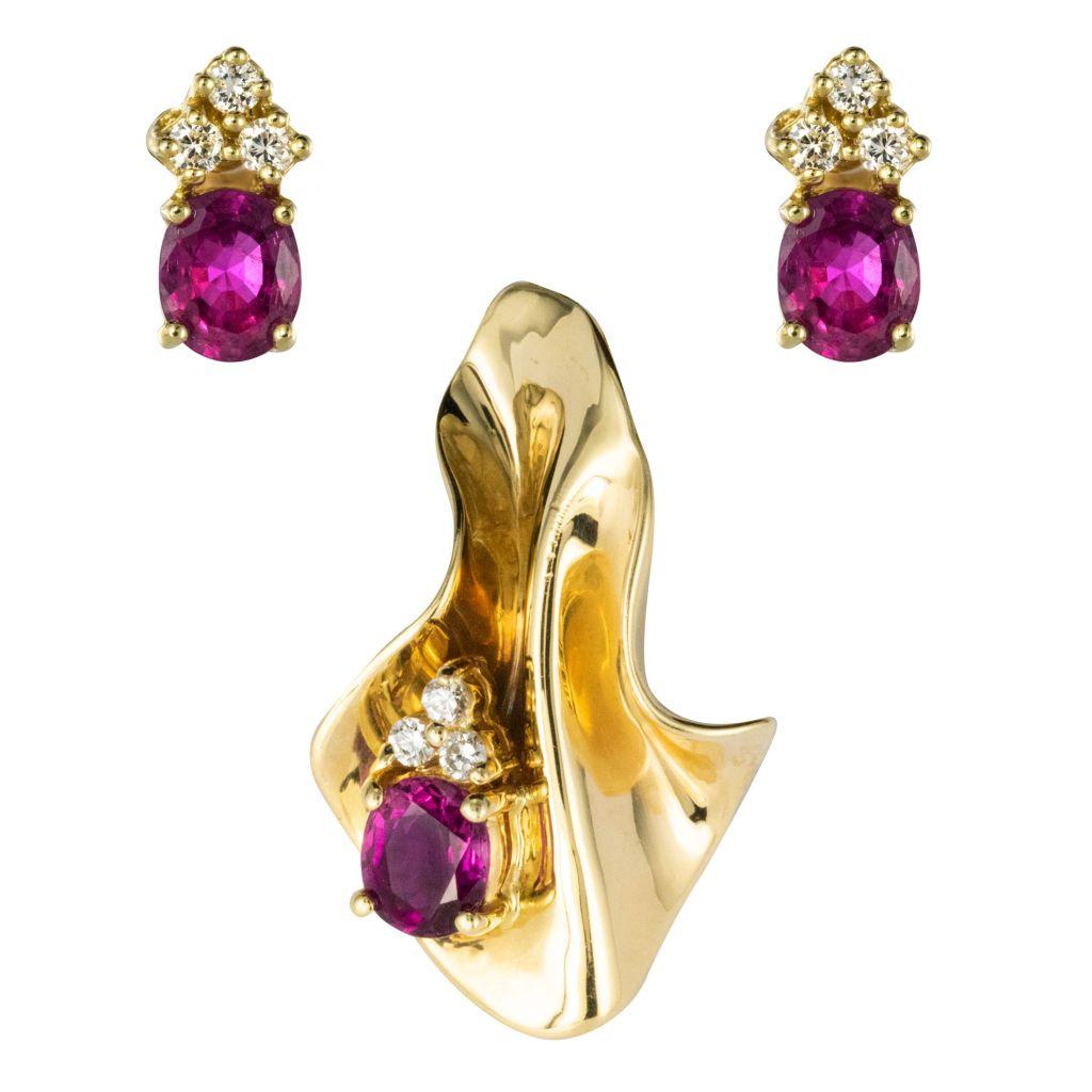 Parure boucles d\'oreilles pendentif diamants grenats