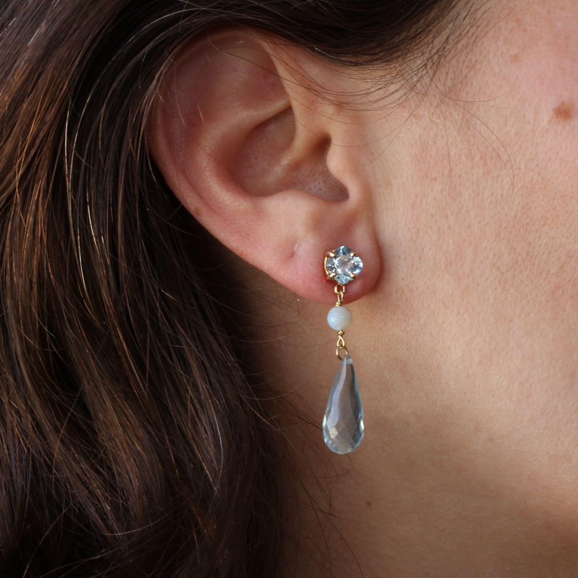 Pendants d\'oreilles aigue marine opales