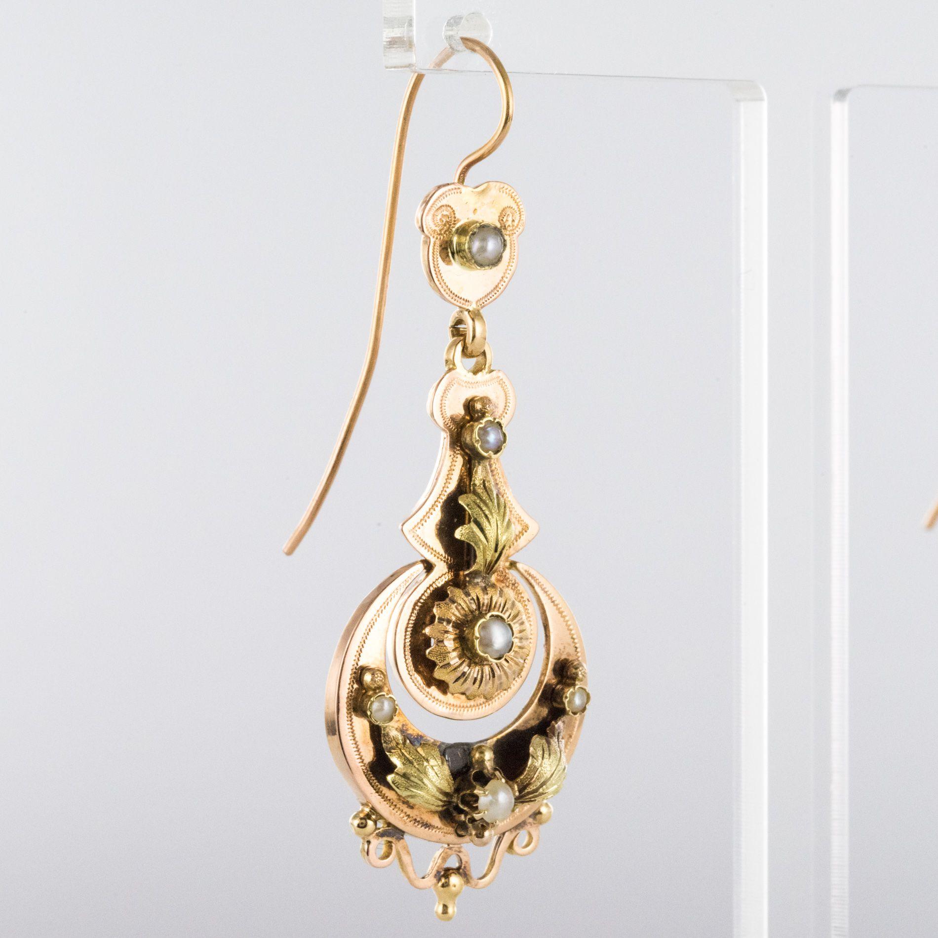 Pendants d\'oreilles anciens perles fines