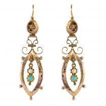Pendants d\'oreilles anciens perles fines turquoises