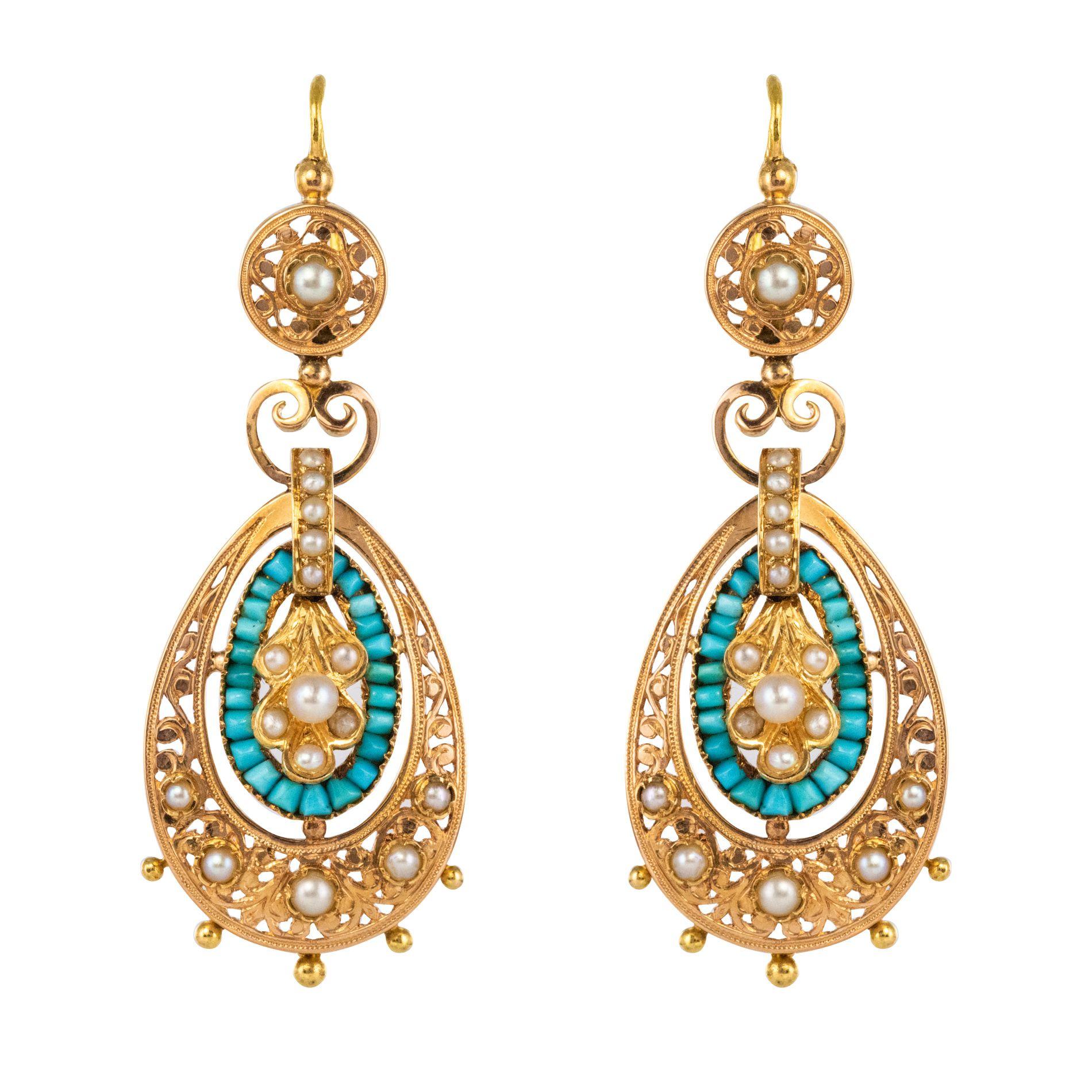 Pendants d\'oreilles anciens turquoises et perles fines