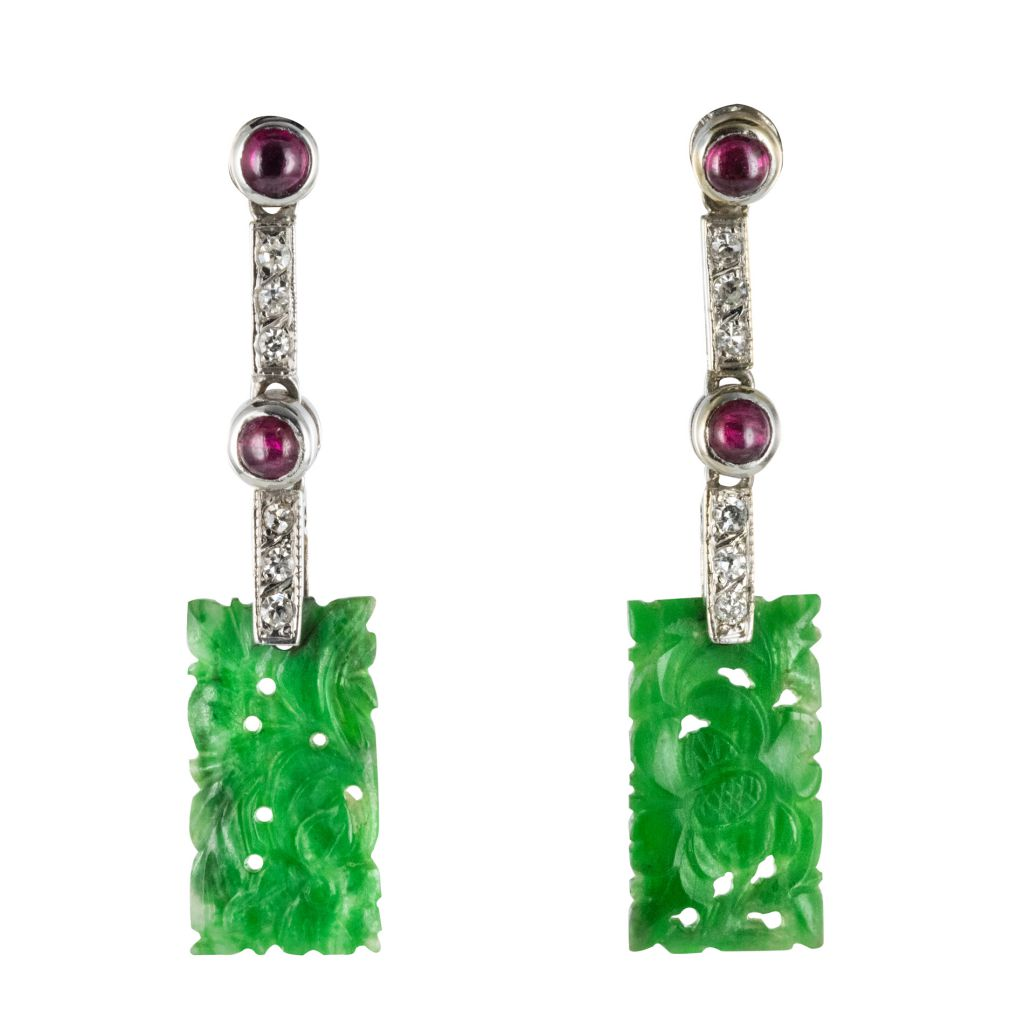 Pendants d\'oreilles Jade, Diamants & Rubis
