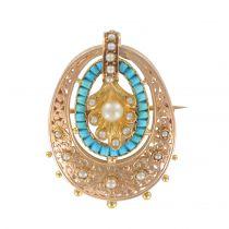 Pendentif - Broche ancien turquoises et perles fines