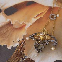 Pendentif - Broche Art nouveau Diamants et Perles