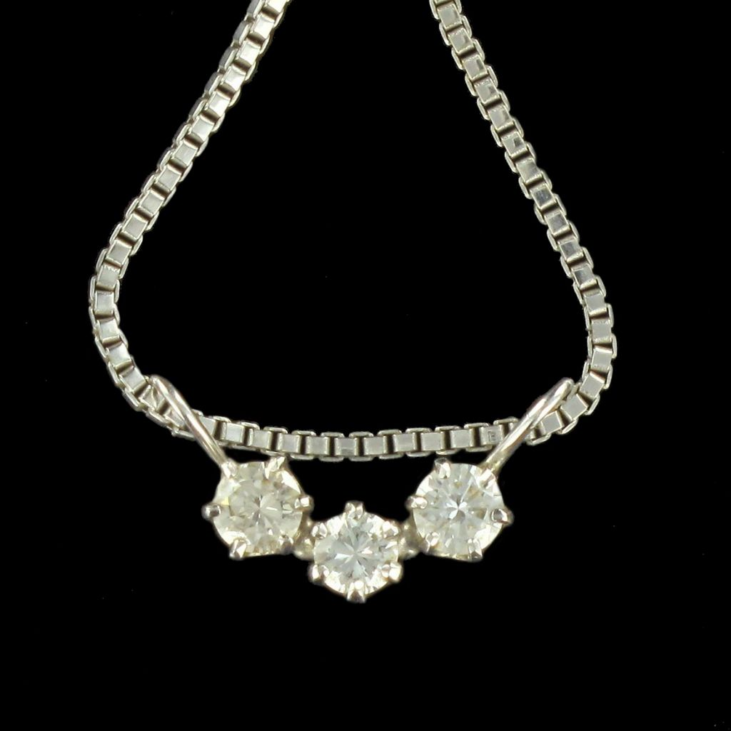 Pendentif 3 diamants or blanc