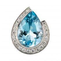 Pendentif aiguemarine diamants
