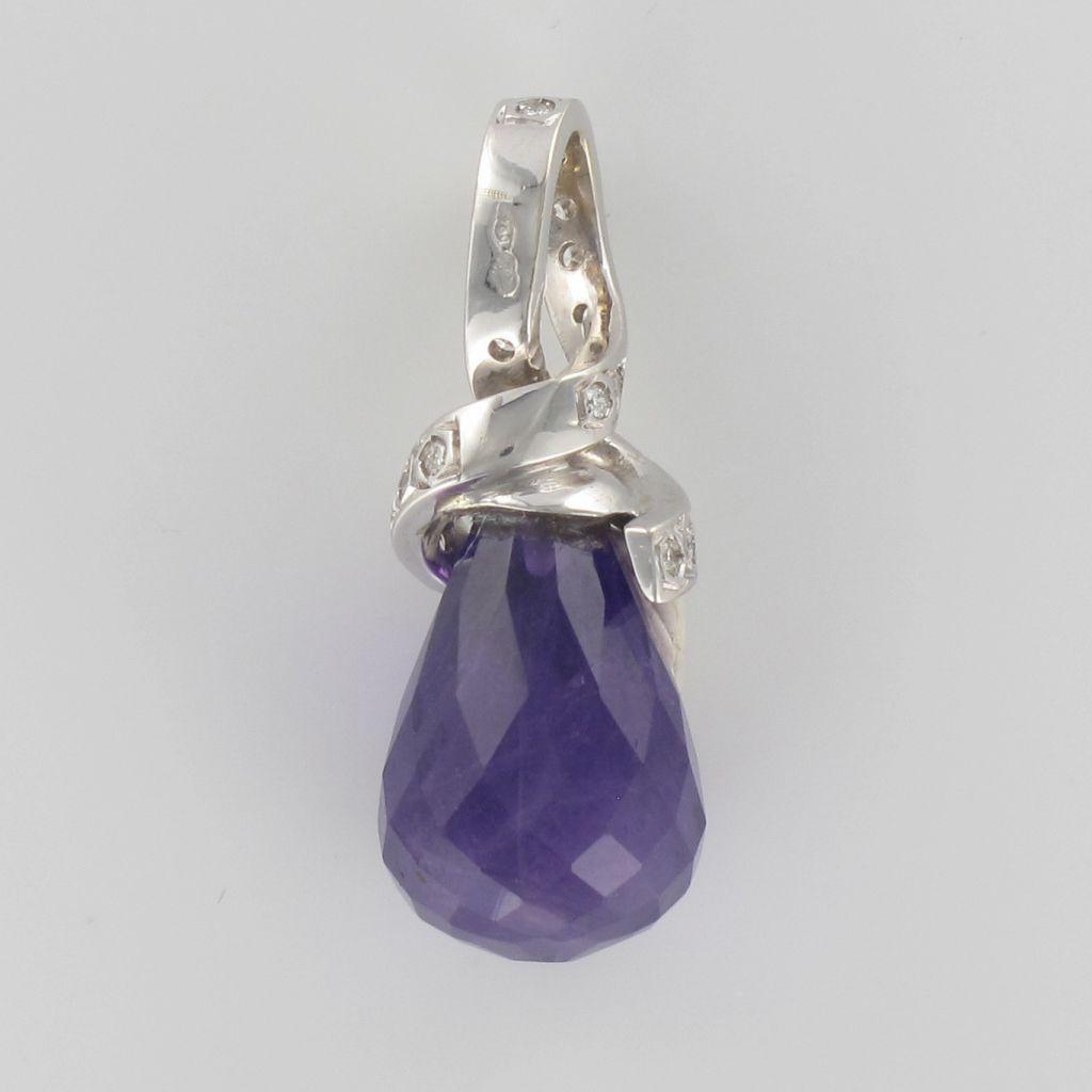 Pendentif améthyste briolette et diamants