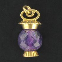 Pendentif Améthyste facettée et Or lanterne