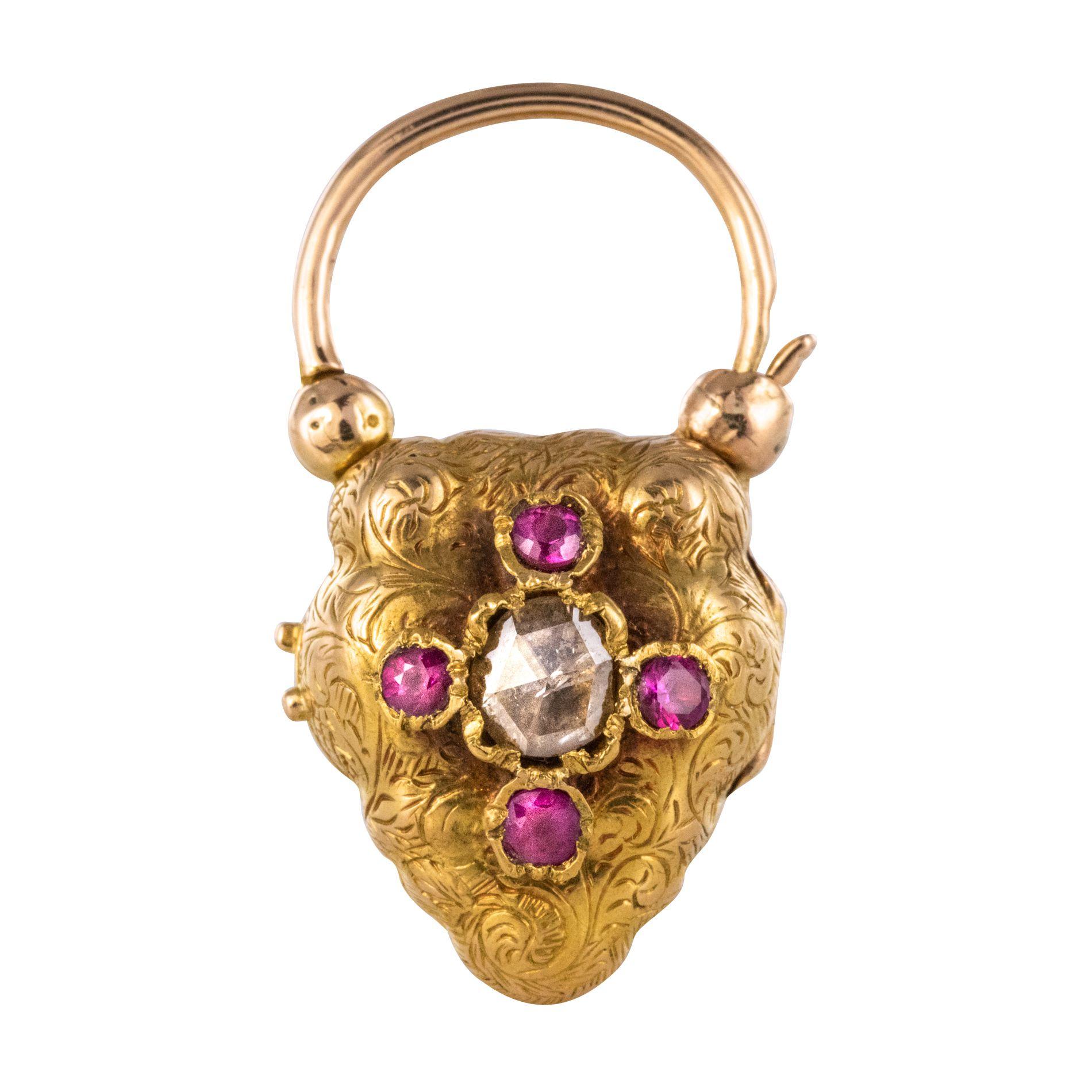 Pendentif ancien diamant taillé en rose et rubis