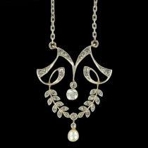 Pendentif ancien diamants perle fine