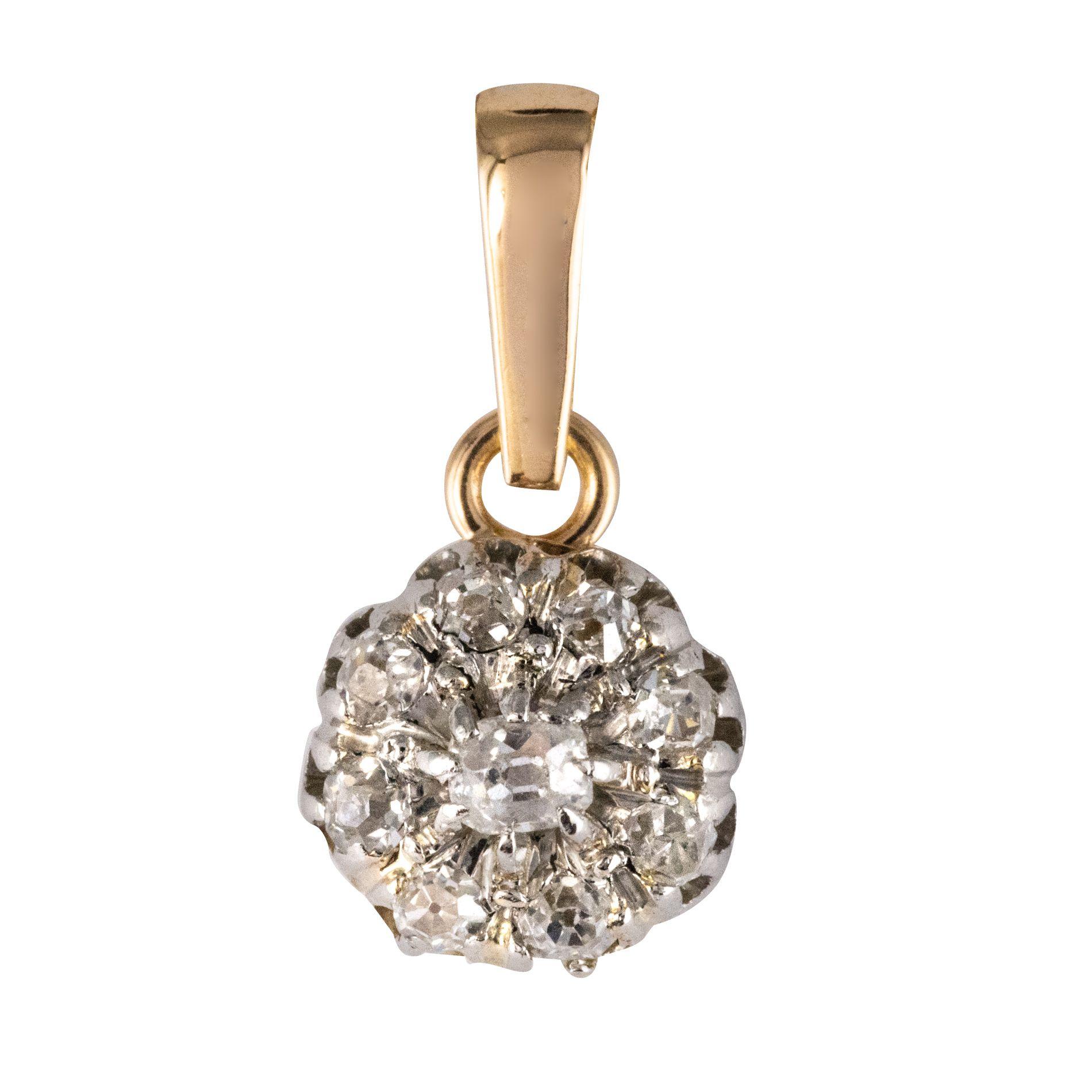 Pendentif ancien fleur de diamants
