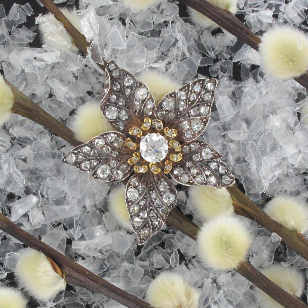 pendentif ancien fleur diamants - bijou ancien