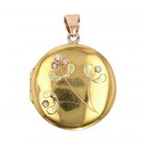 Pendentif ancien ouvrant en or et perles fines