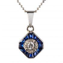 Pendentif art déco diamants saphirs calibrés