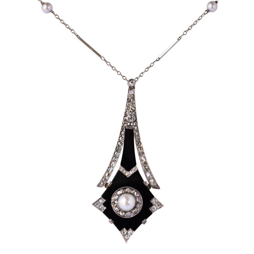 Pendentif Art déco Perle, Onyx et Diamants