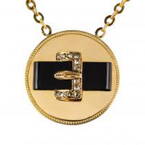 Pendentif ceinture onyx diamants or