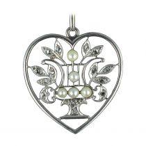 Pendentif Coeur Perles et Diamants