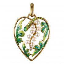 Pendentif coeur perles et émail