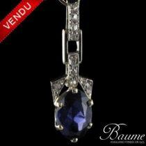 Pendentif cordierite et diamants