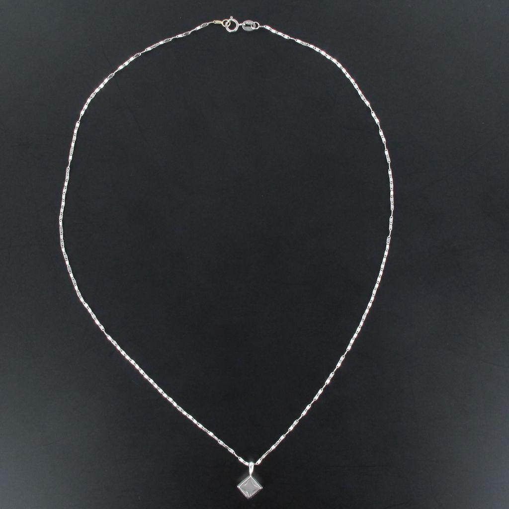Pendentif diamant solitaire or blanc