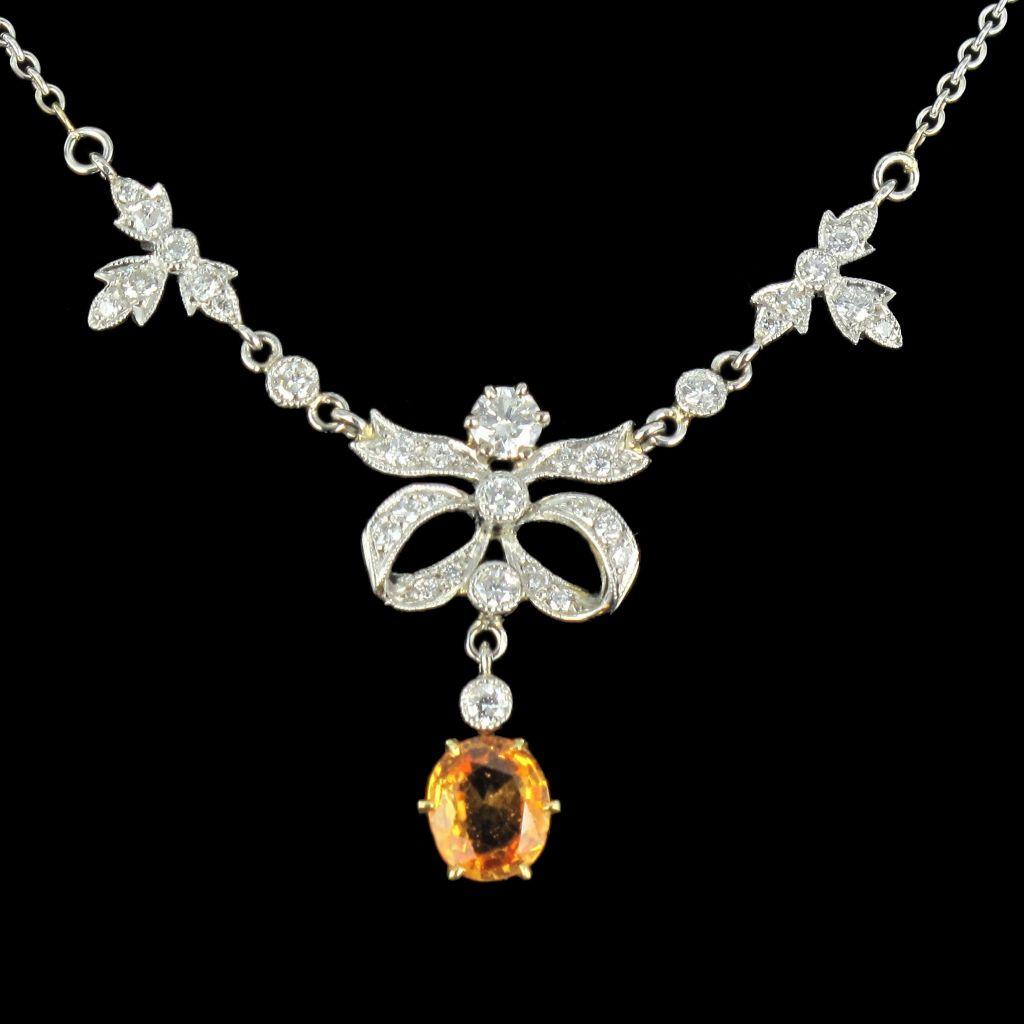 Pendentif diamants et Saphir orange G 1
