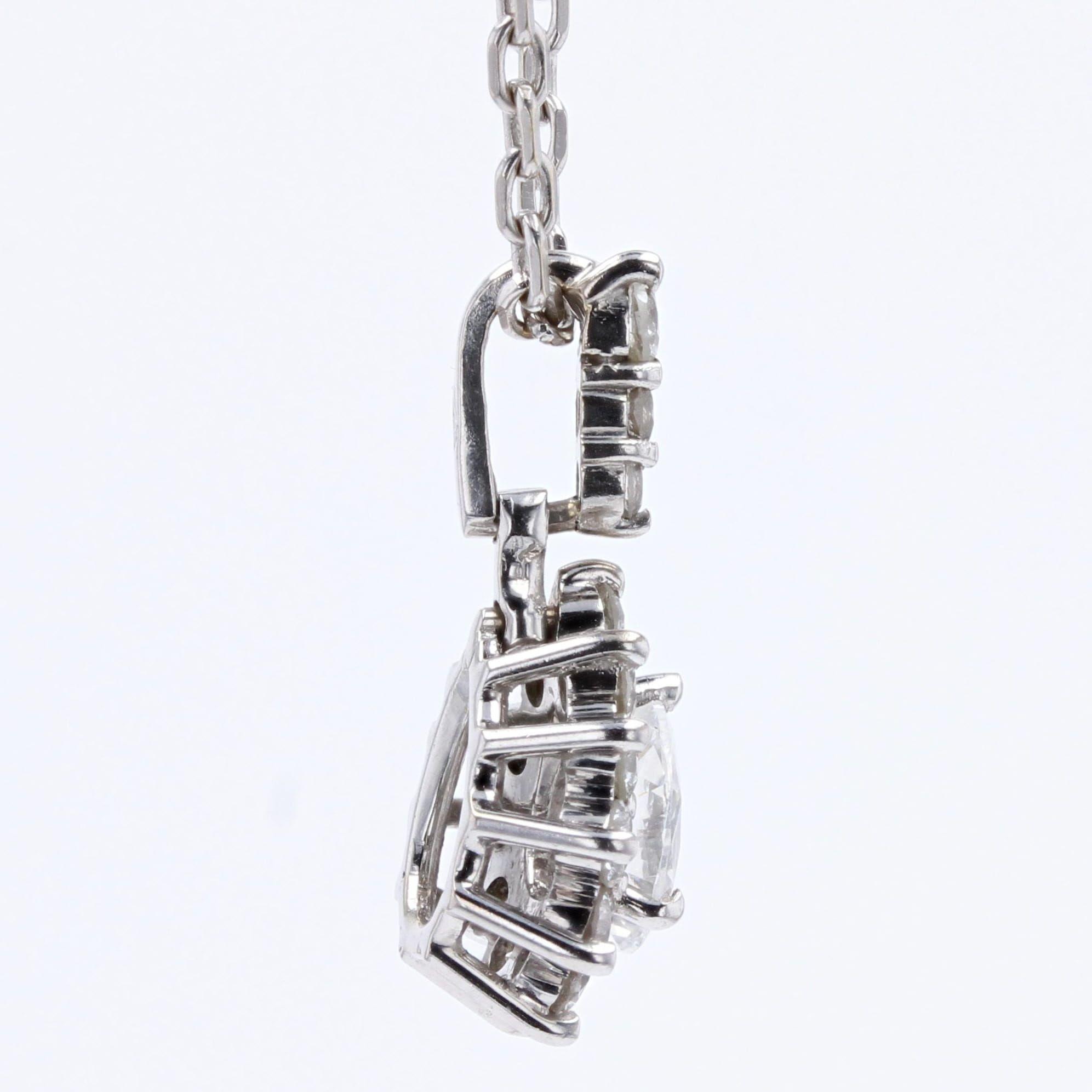 Pendentif diamants or blanc marquise