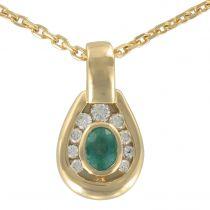 Pendentif émeraude diamants et sa chaine
