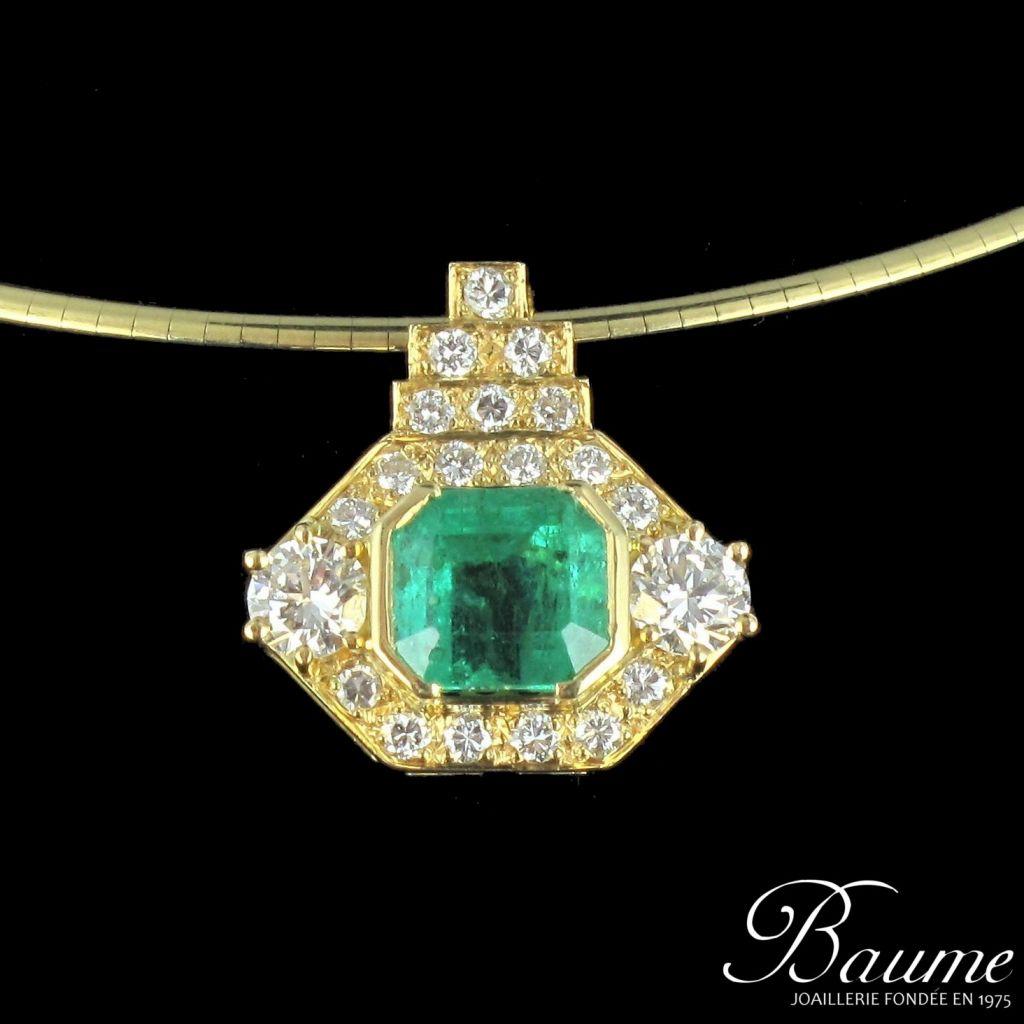 Pendentif émeraude et diamants