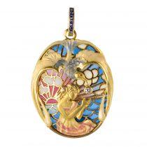 Pendentif esprit Art nouveau Emaux, Diamant et Saphirs