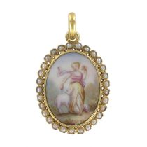 Pendentif médaillon ancien miniature sur porcelaine et perles fines