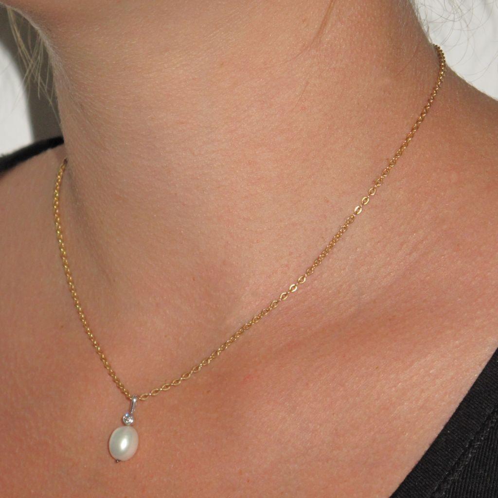 Pendentif Or blanc, Perle et Diamant